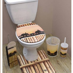 Printed Duroplast Oval Elongated Toilet Seat Design The Island 17x14.6