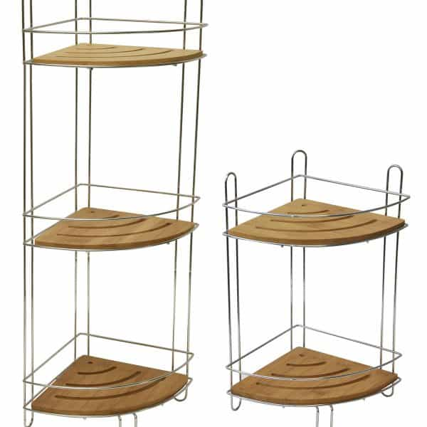 Free Standing Metal Wire Corner Shower Caddy With 2 Bamboo Shelves Color Brown Microfiber Non Skid Bath Mat Rug Rectangular 29 5 L X 17 W Gray