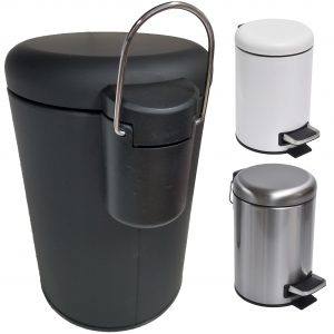 Soft Close Small Round Metal Bathroom Floor Step Trash Can Waste Bin 3-liters/0.8-gal Black