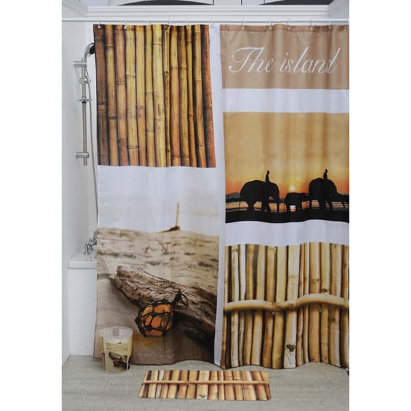 The Island Polyester Printed Fabric Shower Curtain Multicolored