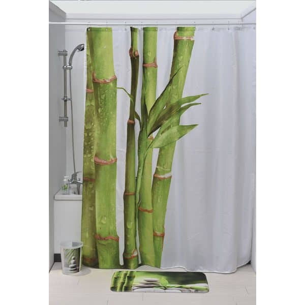 Zen And Co Polyester Printed Fabric Shower Curtain Multicolored