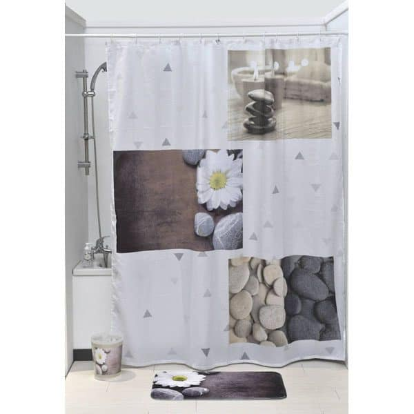 Zen Garden Polyester Printed Fabric Shower Curtain Multicolored