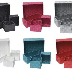 Checkered Woven Strap Storage Utilities Shelf Baskets Storage Set of 4 Grey