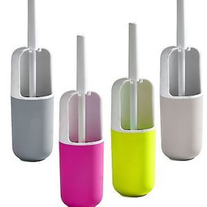 Bathroom Free Standing Toilet Bowl Brush and Holder Color: White / Fuchsia
