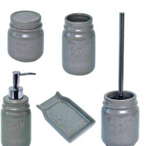 Mason Jar Collection Bathroom Toilet Bowl Brush Holder Taupe