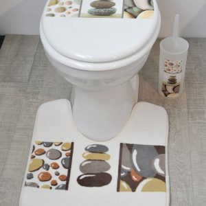 Pedestal Mat Microfiber Bathroom Toilet Contour Rug BELLE ILE Gray 17W X 20L