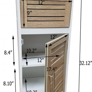 "Bathroom Storage Floor Cabinet Miami White 32.7""H X 14.4""L Free Standing Cabinet"