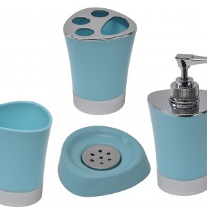 Bathroom Soap and Lotion Dispenser -Chrome Parts- Aqua Blue