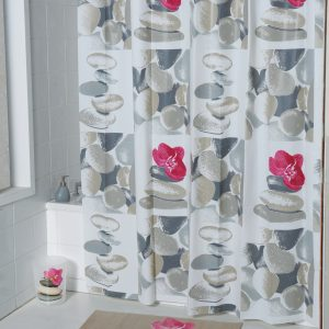 Evideco Spa Peva Bathroom Printed Shower Curtain, Multicolored