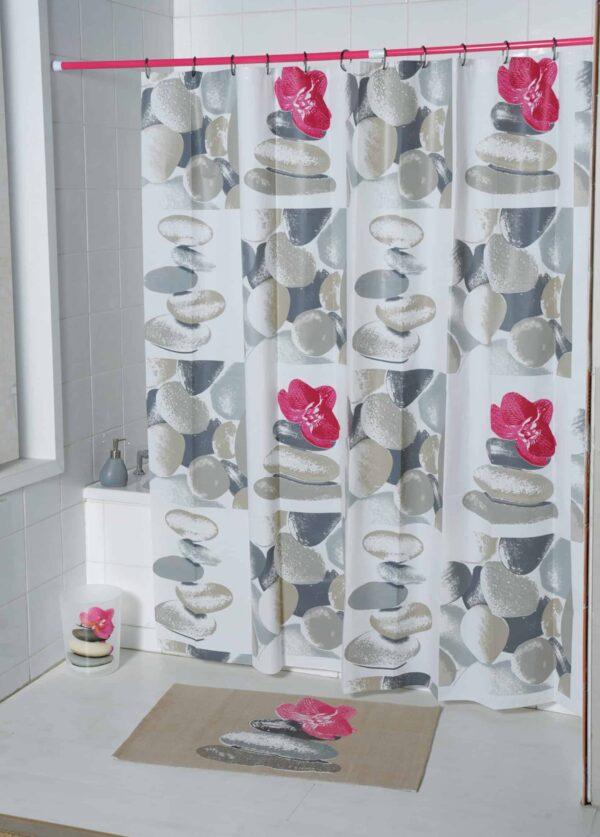 Evideco Spa Peva Bathroom Printed Shower Curtain, Multicolored