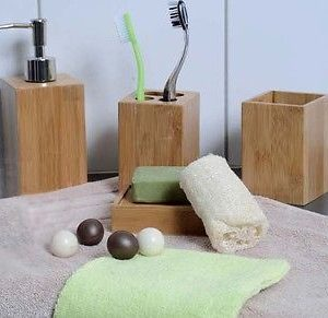 Ecobio Bamboo Square Bathroom Toothbrush Holder Color: Brown