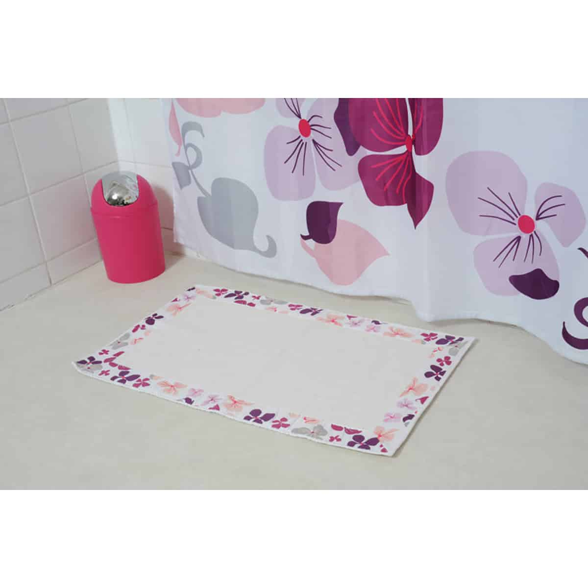Cool Evideco Printed Border Cotton Bathroom Mat Home Rug Softies Purple 20W X 31 5L Interior Design Ideas Gentotryabchikinfo