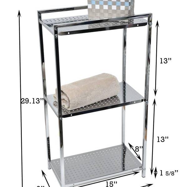 Evideco Metal Square Tube Storage Floor Cabinet Tower 3 Tier Chrome