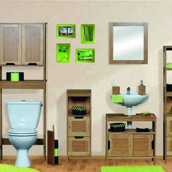 94a3c7cc72f5 Evideco Mahe Free Standing Over The Toilet Space Saver Cabinet Bamboo