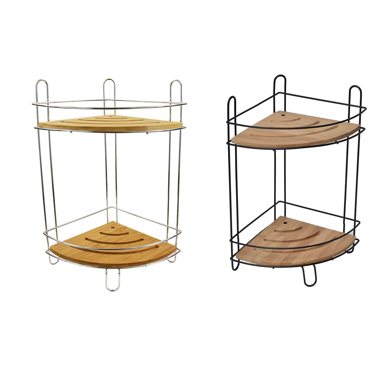 Picture of: Evideco Free Standing Metal Wire Corner Shower Caddy With 2 Bamboo Shelves Color Brown