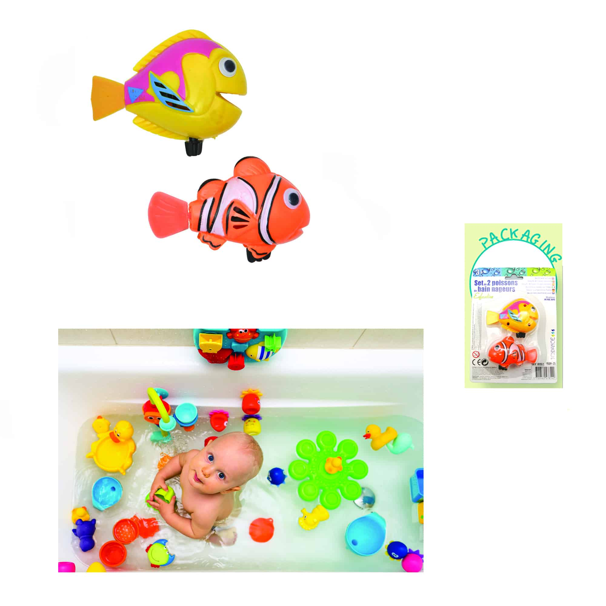 Evideco 2 Piece Set Funny Wind Up Swimmers Clown Fish