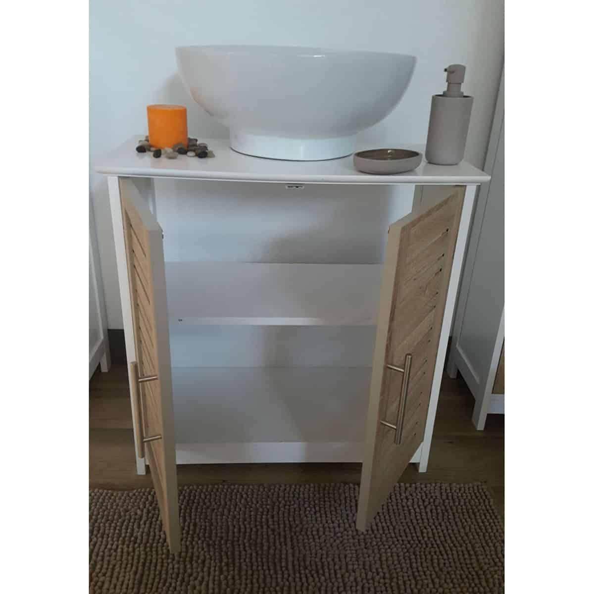 A Modern Living Room, Evideco Freestanding Non Pedestal Under Sink Vanity Cabinet Bath Storage Wood Stockholm