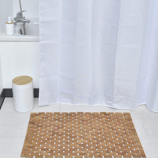 Rectangular Bathroom Bamboo Slats Roll Up Foldable Shower Door Rug Anti Slippery Grey 315 L X 20W