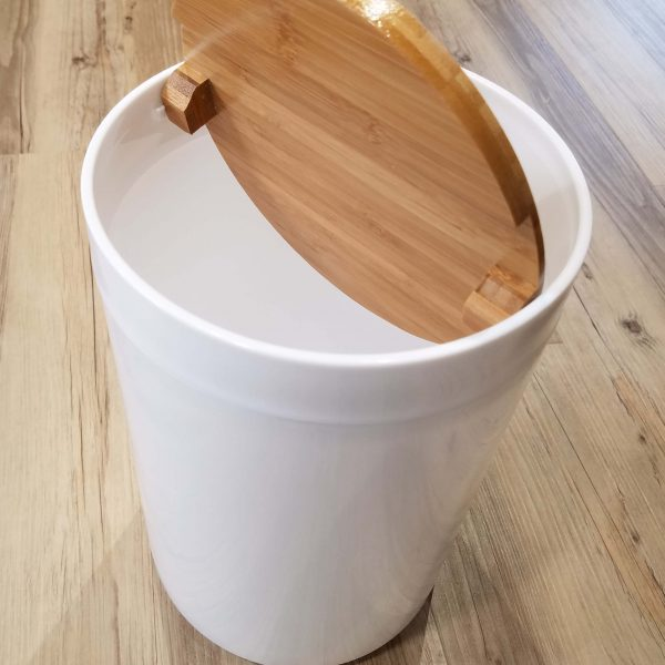 Evideco Round Bathroom Floor Trash Can Padang Waste Bin
