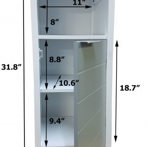 Freestanding Bathroom Floor Storage Cabinet 1 Door with Shelves -Modern D- White and Grey