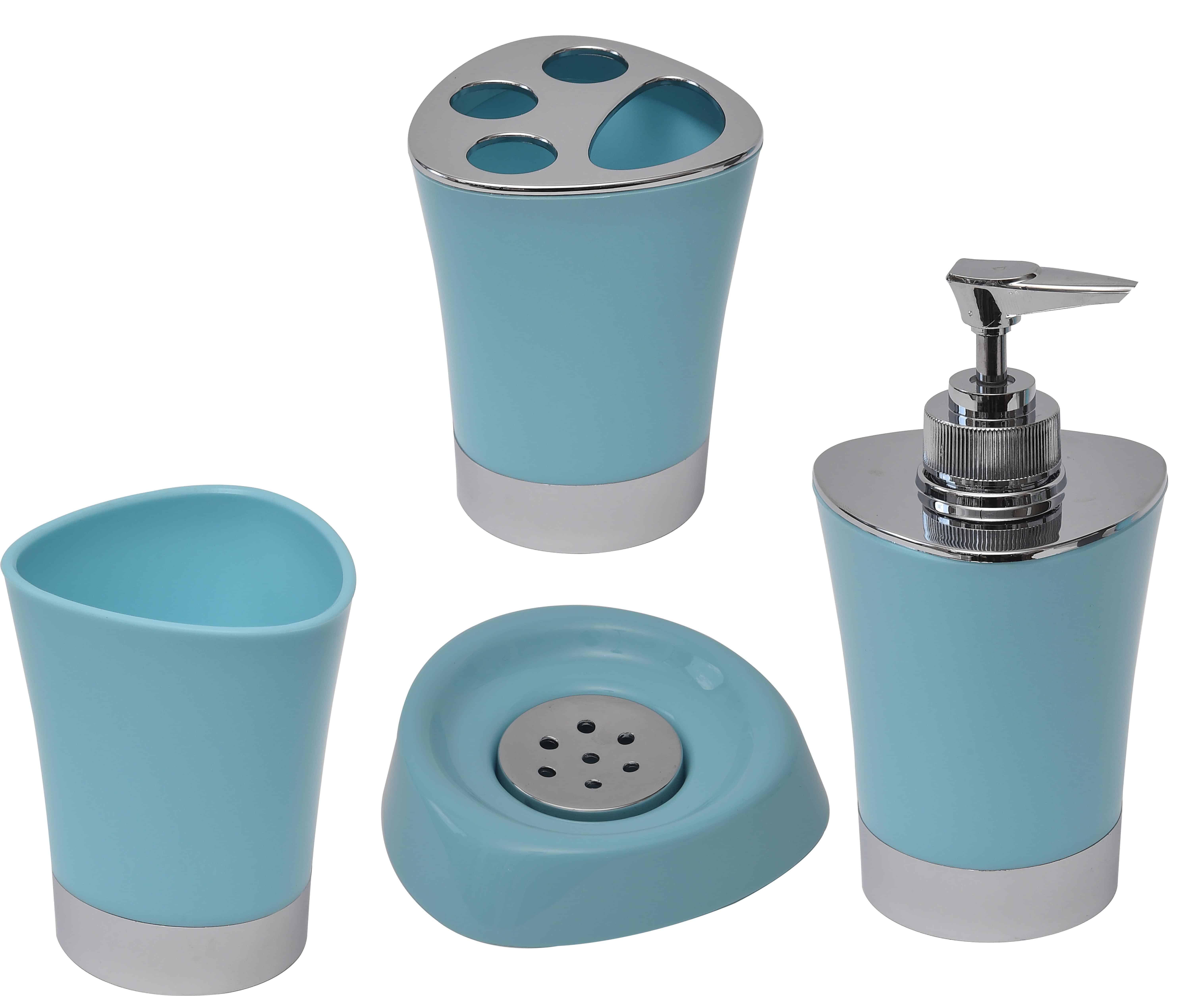 Evideco Bathroom Tumbler Toothbrush Holder Chrome Base Aqua Blue