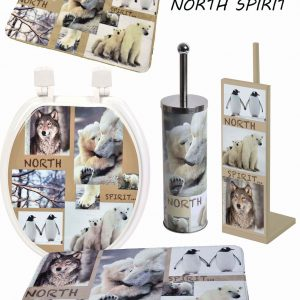 North Spirit Freestanding Bathroom Metal Printed Toilet Tissue Paper Roll Holder Reserve 3 Rolls