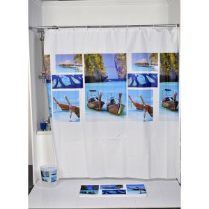 Paradise Bathroom Printed Peva Shower Curtain, Multicolored
