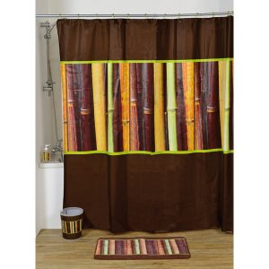 Java Bathroom Printed Peva Shower Curtain, Multicolored