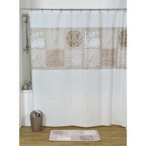 Paris Romance Bath Printed Peva Shower Curtain, Multicolored