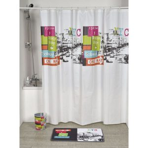 Urban Nyc Peva Bath Printed Shower Curtain, Multicolored
