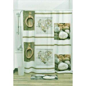 Design Nature Bathroom Peva Liner Shower Curtain, Multicolored