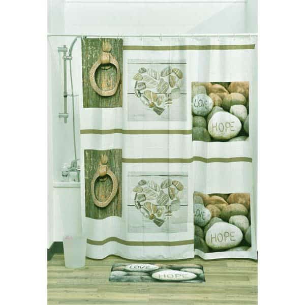 Design Nature Bathroom Peva Liner Shower Curtain, Multicolored