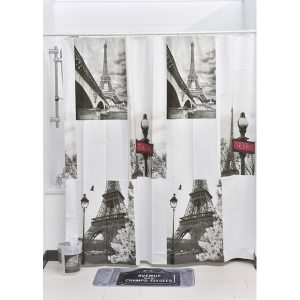 Paris City Bath Printed Peva Liner Shower Curtain, Multicolored