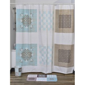 Faience Collection Printed Peva Liner Shower Curtain Plastic 71x71 Inch