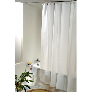 Solid Eva Bathroom Shower Curtain, White