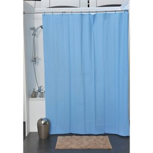 Solid Eva Bathroom Shower Curtain, Azure Blue