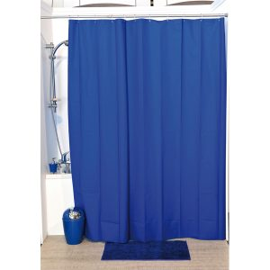 Solid Eva Bathroom Shower Curtain, Navy Blue