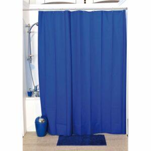 Solid Eva Bathroom Shower Curtain, Navy Blue