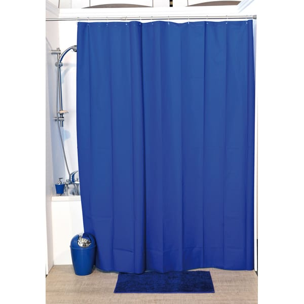 Solid Eva Bathroom Shower Curtain Navy Blue