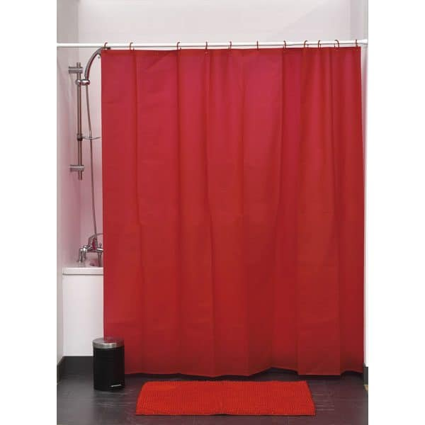Eva Solid Bathroom Shower Curtain, Red