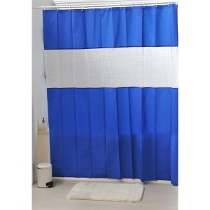 Laser Peva Solid Colors Bathroom Shower Curtain, Navy Blue
