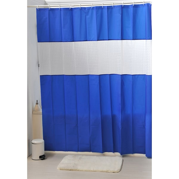 Laser Peva Solid Colors Bathroom Shower Curtain Navy Blue
