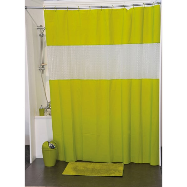 Laser Peva Solid Colors Bathroom Shower Curtain Lime Green