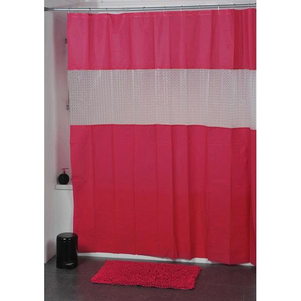 Laser Peva Solid Colors Bathroom Shower Curtain Pink