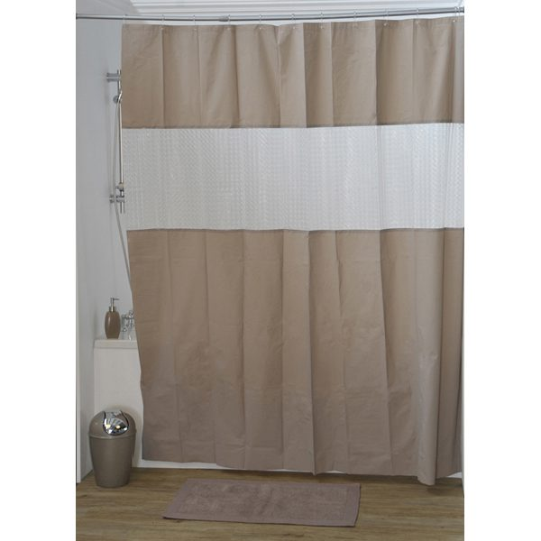 Laser Peva Solid Colors Bathroom Shower Curtain, Taupe