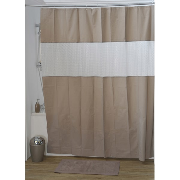 Laser Peva Solid Colors Bathroom Shower Curtain Taupe