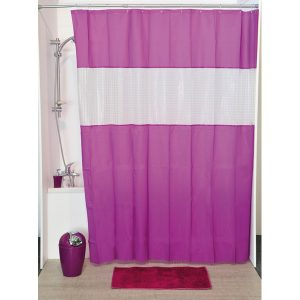 Laser Peva Solid Colors Bathroom Shower Curtain, Purple