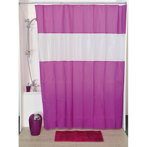 Laser Peva Solid Colors Bathroom Shower Curtain Purple