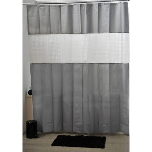 Laser Peva Solid Colors Bathroom Shower Curtain, Grey