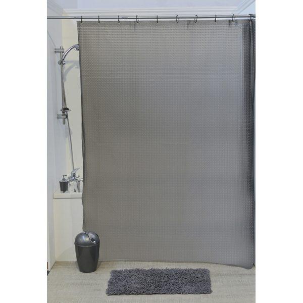 3D Effect Laser Eva Bathroom Shower Curtain,Grey